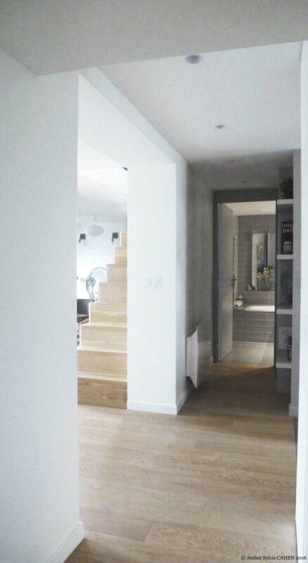 Atelier Sylvie Cahen Architecte Intérieur Paris 12 éme choisy paris pratique fonctionnel design contemporain tendance Loft Entrée escalier bois parquet