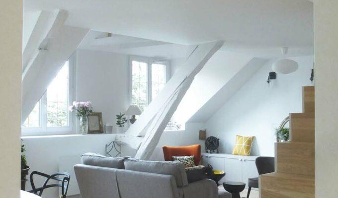 choisy paris pratique fonctionnel design contemporain tendance salon poutre escalier bois parquet canapé gris