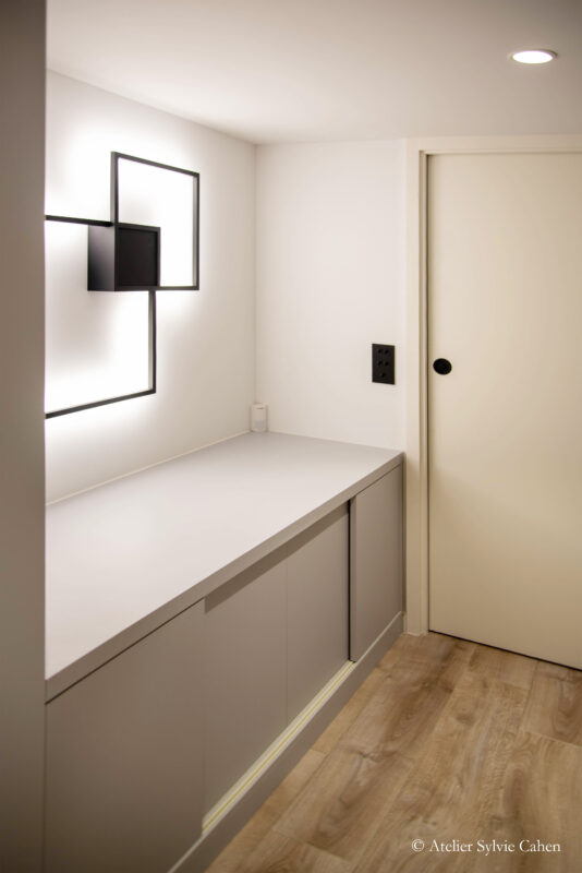 Loft à Lyon. Couloir, dégagement avec rangements.
