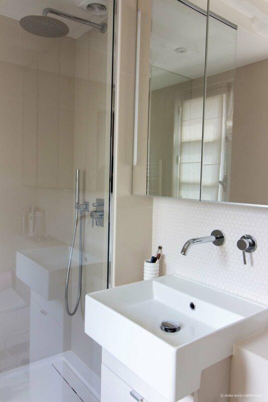 Appartement en structure bois. Salle de bain avec vasque simple et douche.